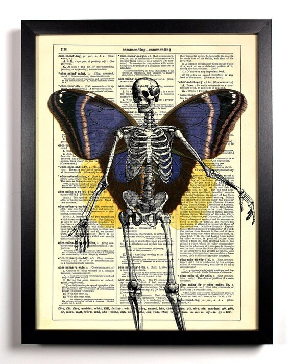 Skeleton With Butterfly Wings, Home, Nursery, Bath, Office Decor, Wedding Gift, Eco Friendly Book Art, Vintage Dictionary Print 8 x 10 in.