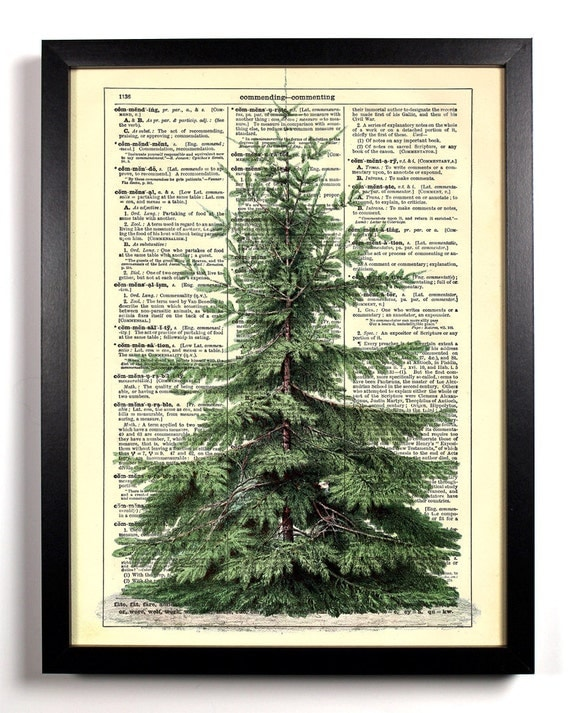 Items similar to christmas tree home kitchen nursery for Christmas tree made from old books