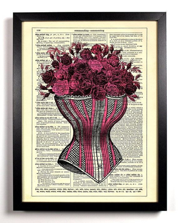 Corset With Roses, Home, Kitchen, Nursery, Bath, Office Decor, Wedding Gift, Eco Friendly Book Art, Vintage Dictionary Print 8 x 10 in.