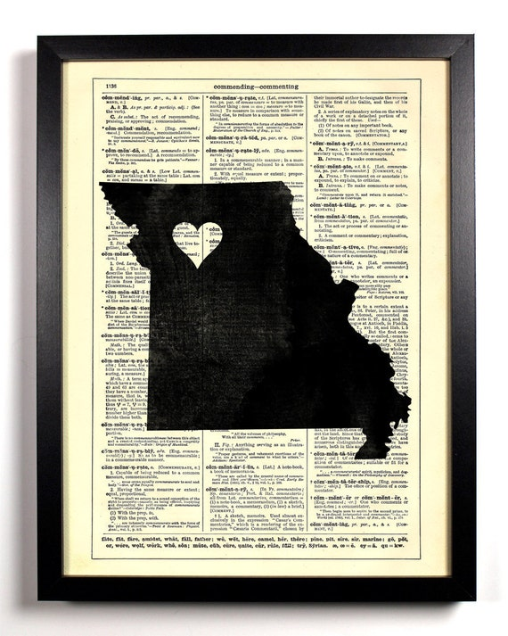 Missouri State Map, Home, Kitchen, Nursery, Bath, Office Decor, Wedding Gift, Eco Friendly Book Art, Vintage Dictionary Print 8 x 10 in.