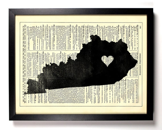 Kentucky State Map, Home, Kitchen, Nursery, Bath, Office Decor, Wedding Gift, Eco Friendly Book Art, Vintage Dictionary Print 8 x 10 in.