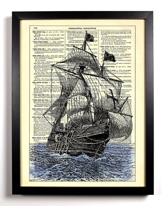 Black Sails In The Sunset, Home, Kitchen, Nursery, Office Decor, Wedding Gift, Eco Friendly Book Art, Vintage Dictionary Print, 8 x 10 in.