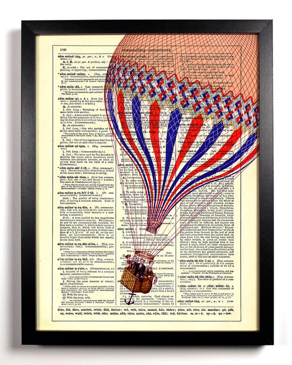 Drifting Hot Air Balloon, Home, Kitchen, Nursery, Office Decor, Wedding Gift, Eco Friendly Book Art, Vintage Dictionary Print 8 x 10 in.