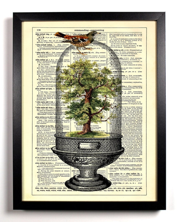 Tree Terrarium, Home, Kitchen, Nursery, Bathroom, Office Decor, Wedding Gift, Eco Friendly Book Art, Vintage Dictionary Print, 8 x 10 in.