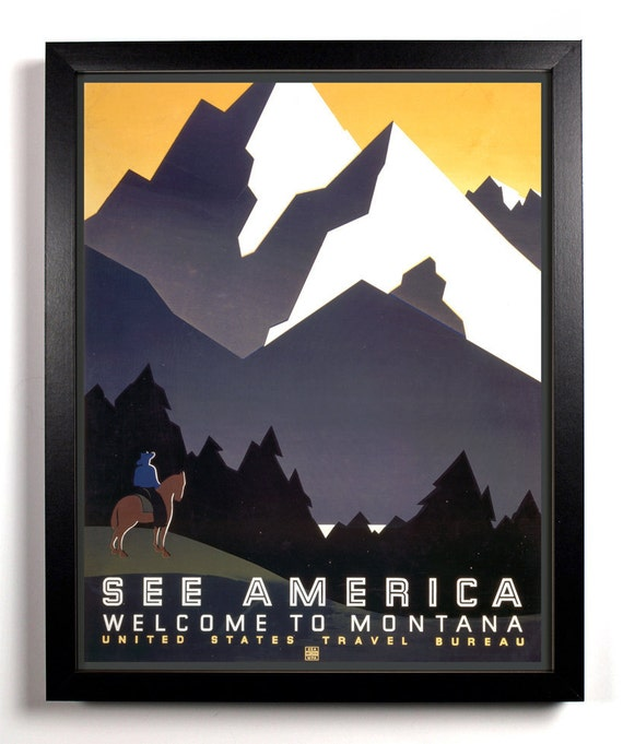 See America Montana Mountains, Home, Kitchen, Nursery, Bath, Office Decor, Wedding Gift, Housewarming Gift, Unique Holiday Gift, Wall Poster