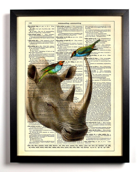 Rhino and Little Birds, Home, Kitchen, Nursery, Bath, Office Decor, Wedding Gift, Eco Friendly Book Art, Vintage Dictionary Print 8 x 10 in.
