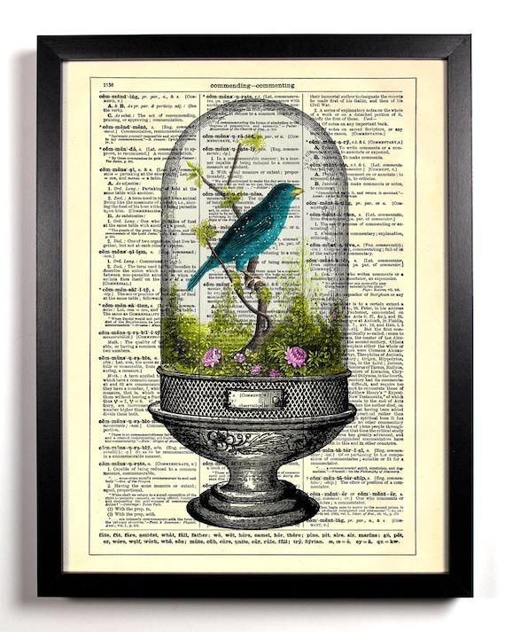 Sitting Pretty Bird Terrarium, Home, Kitchen, Nursery, Office Decor, Wedding Gift, Eco Friendly Book Art, Vintage Dictionary Print 8 x 10 in