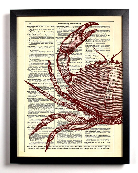 Half Red Crab, Home, Kitchen, Nursery, Bath, Office Decor, Wedding Gift, Eco Friendly Book Art, Vintage Dictionary Print 8 x 10 in.