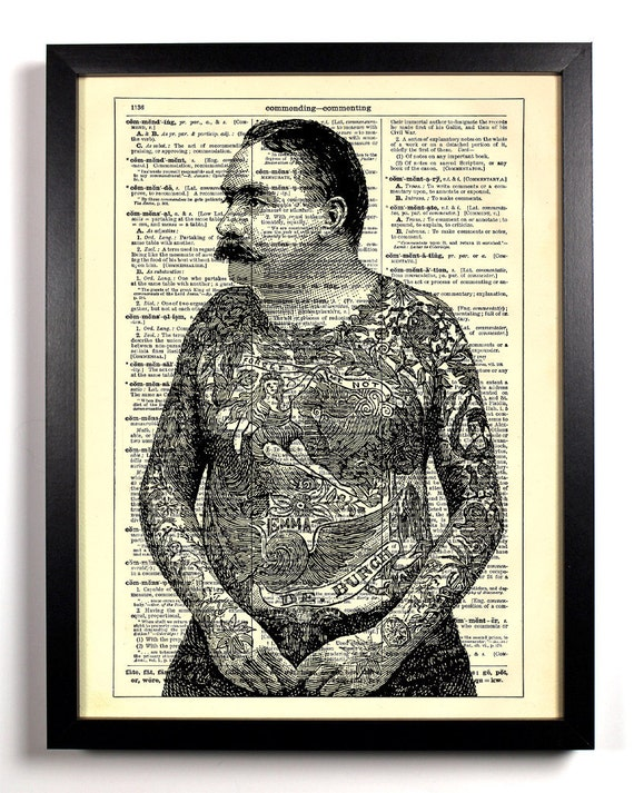 Tattooed Man, Home, Kitchen, Nursery, Bath, Office Decor, Wedding Gift, Eco Friendly Book Art, Vintage Dictionary Print 8 x 10 in.