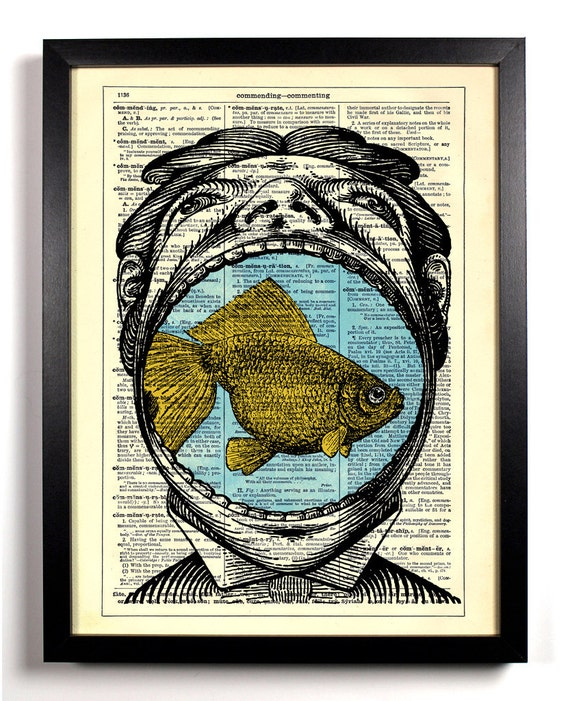 A Mouth Full Of Fish, Home, Kitchen, Nursery, Bath, Office Decor, Wedding Gift, Eco Friendly Book Art, Vintage Dictionary Print 8 x 10 in.