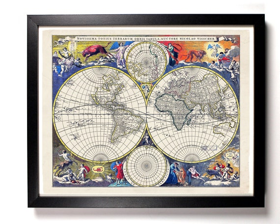 World Map Antique Illustration, Home, Kitchen, Nursery, Office Decor, Wedding Gift, Housewarming Gift, Unique Holiday Gift, Wall Poster