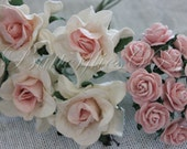 15 Handmade Mulberry Paper Flowers Mixed Sizes of Pink Tone Wedding Roses Code GR-5