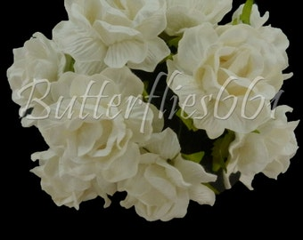 10 Handmade Mulberry Paper Flowers White Large Wedding Roses Code 40-15