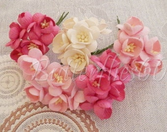 100 Mixed Pink White Handmade Mulberry Paper Flowers DIY Wedding bouquet Craft Sakura S00 FREE SHIPPING