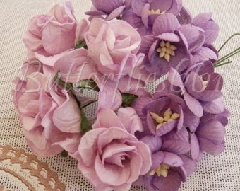 15 Handmade Mulberry Paper Flowers Mixed Sizes of Purple Tone Wedding Roses Code GS-601