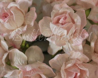 10 Handmade Mulberry Paper Flowers Sweet Pale Pink Large Wedding Roses 40R- 518