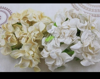 10 Handmade Mulberry Paper Flowers White  and Cream Gardenias