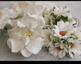 13 Mixed Big White Gardenias  / White Daisy  Handmade Mulberry Paper Crafts Wedding GD - 15