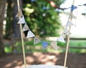 Cake Bunting - Blues/Neutrals - SINGLE SIDED