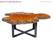 SALE 40% OFF Reclaimed Burl Wood Coffee Table with Modern Frame