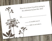 100 Printed Woodsy Taupe Brown Garden Wedding RSVP Cards