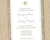 100 Professionally Printed Starfish Beach Wedding Invitations with Envelopes