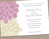 100 Printed Modern Peonies Wedding Invitations with Envelopes