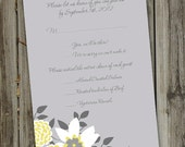 100 Printed Yellow and Grey Garden Wedding RSVP Cards with Envelopes