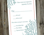 100 Printed Turquoise and Crimson Beach Wedding RSVP Cards with Envelopes
