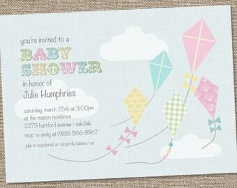 Little Kite Baby Shower Invitation, Pastel Baby Shower Invitation,  PRINTABLE, Up Up And