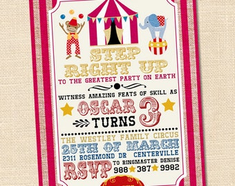 Step Right Up Circus Invitation, Circus Themed Party, Circus First Birthday, PRINTABLE, Circus Party Invitations, Circus Birthday Party