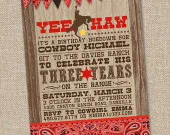 Yee Haw Western Cowboy Invitation, Printable Cowboy Invitation, Country Western Invitation, Cowboy Birthday Invitation