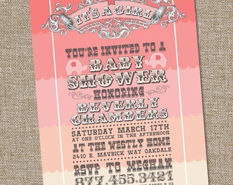 It's a Girl Baby Shower Circus Theme Invitation