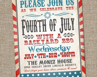 Fourth of July Invitation, Vintage Fourth of July Invitation, Patriotic Invitation, PRINTABLE, 4th of July Invitation, 4th of July Party