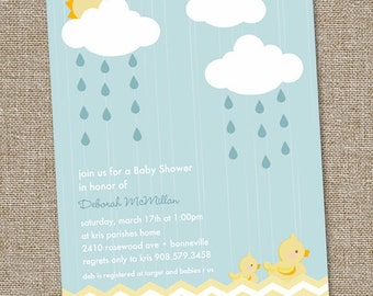 Rainy Day, Rubber Duckie Baby Shower Invitation, Rubber Ducky Invitation, Rubber Ducky Baby Shower Invites, PRINTABLE