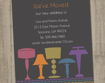 Printable Moving Announcement Card, Let There Be Lamps Moving Announcement Digital, Moving Cards, We've Moved Card, New Address