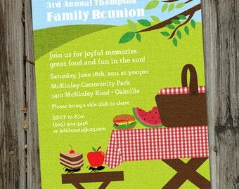 Picnic Basket Invitation, Picnic Party, Summer Park Party, PRINTABLE, Picnic Birthday Invitation, Fun Family Picnic Invitation,