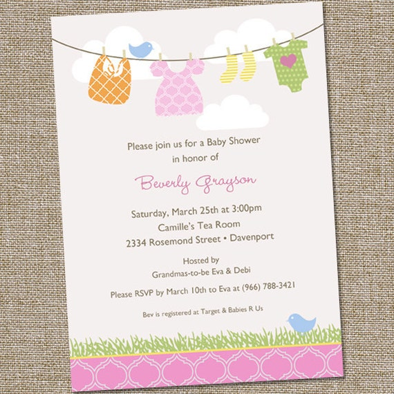 sweet clothesline baby shower invitation pastel baby shower