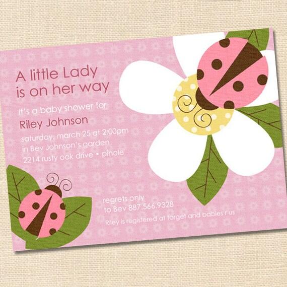 little ladybug baby shower invitation pink ladybug baby shower