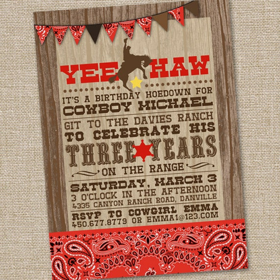 Yee Haw Western Cowboy Invitation, Printable Cowboy Invitation, Country Western Invitation, Cowboy Birthday Invitation