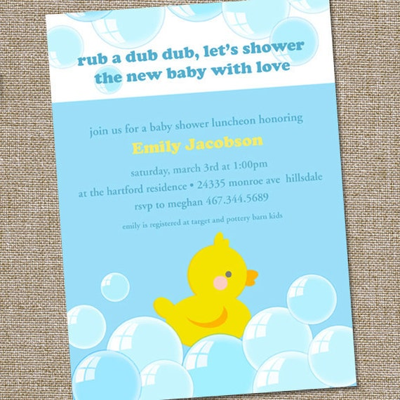 items similar to rubber duckie baby shower invitation on etsy