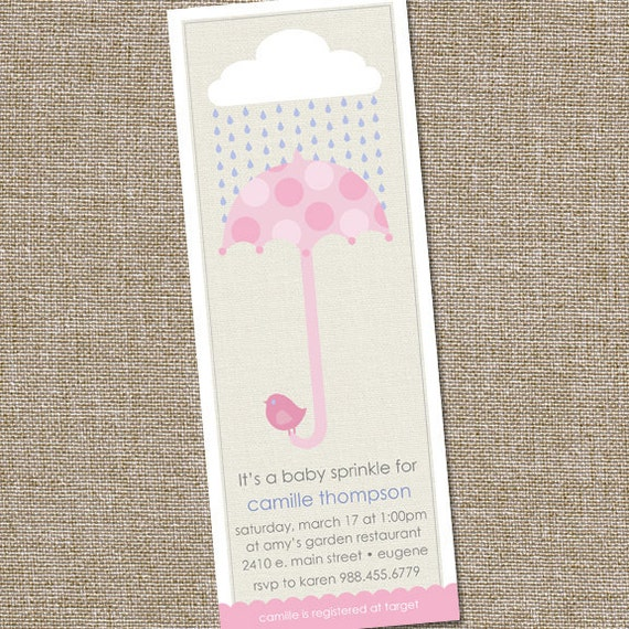 Pink Baby Sprinkle, Baby Shower Invitation with Pink Umbrella