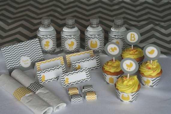 Yellow and Grey Chevron Baby Shower PRINTABLE Party Kit