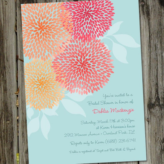 Beautiful Turquoise and Crimson Dahlias Bridal Shower Invitation