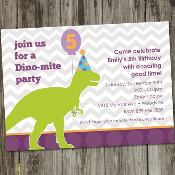 Dino-mite Printable Dinosaur Birthday Party Invitation