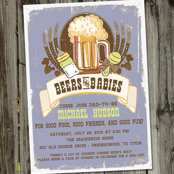beers and babies male baby shower invitation for by partymonkey