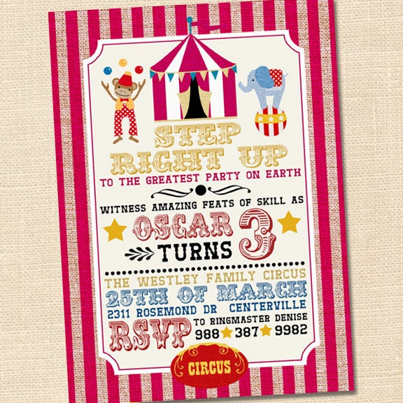 Step Right Up Circus Invitation Circus Themed Party Circus