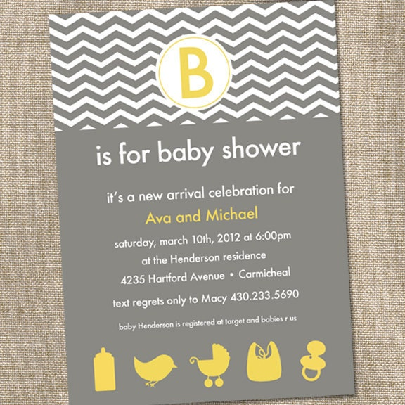modern yellow and gray baby shower invitation chevron,