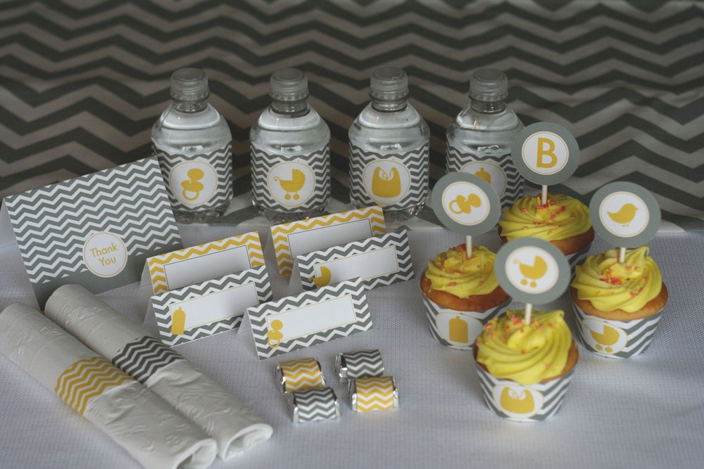 yellow and grey chevron baby shower printable party by partymonkey