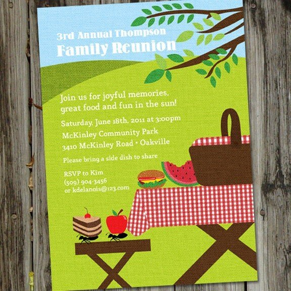 Picnic Basket Invitation Picnic Party Summer Park Party – Free Printable Family Reunion Invitations
